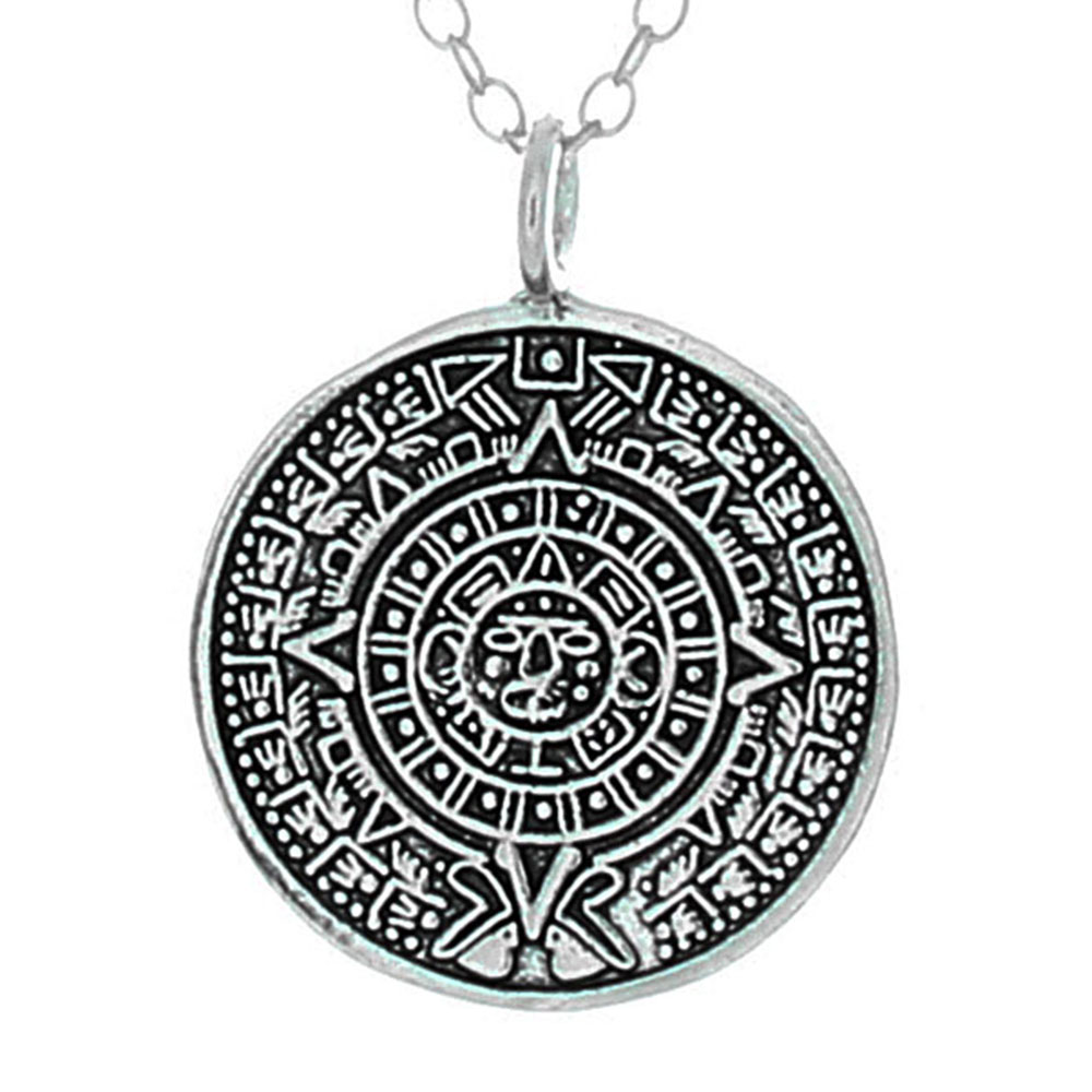 925 sterling silver aztec calendar pendant necklace