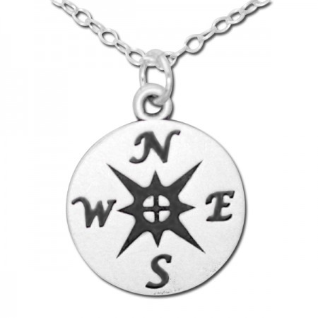 925 Sterling Silver Compass Medallion Pendant Necklace (Comes with an 18