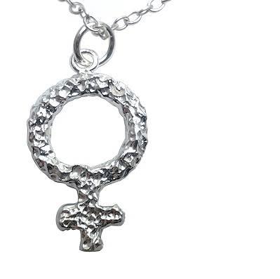 925 Sterling Silver Female Venus Symbol Pendant Necklace Belcho Usa
