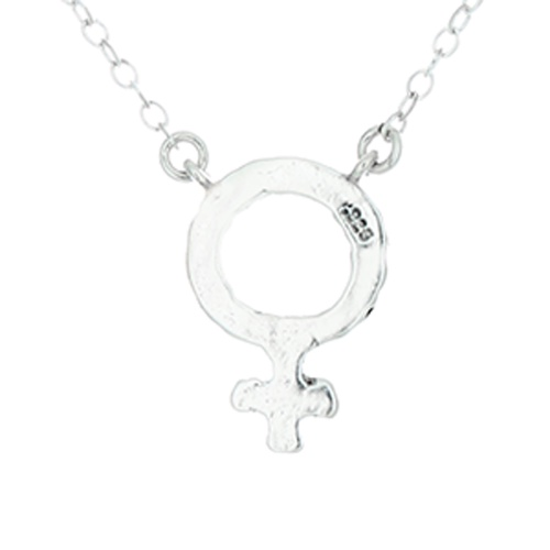 925 Sterling Silver Female Venus Symbol Necklace With Jumper Chain