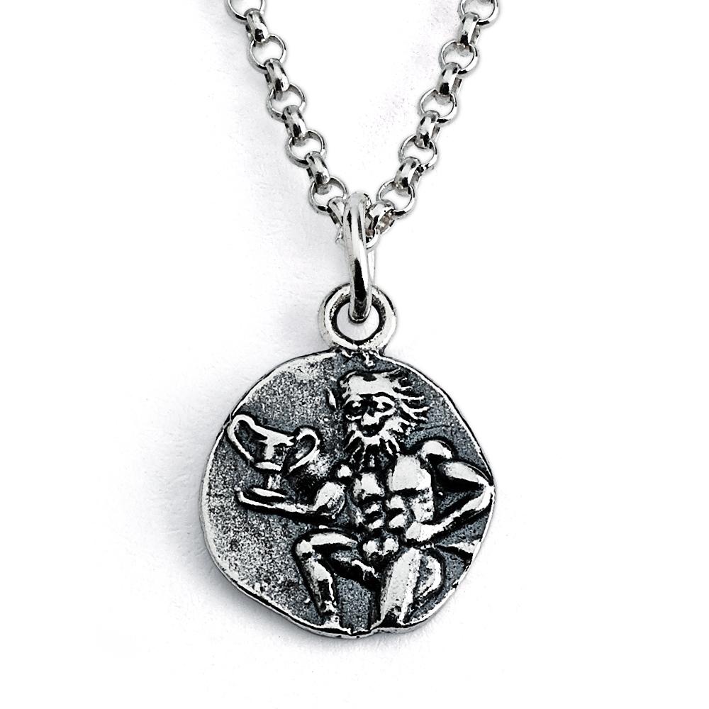 925 Sterling Silver REPLICA Greek Satyr Coin Pendant