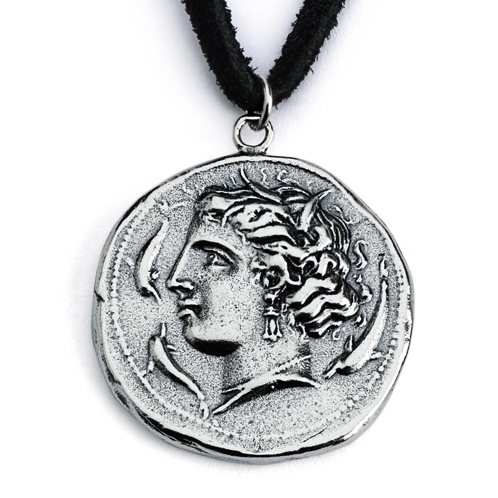 925 Sterling Silver REPLICA Greek Head of Arethusa Coin