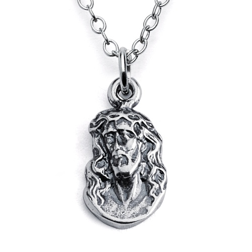 925 sterling silver jesus christ with crown of thorns pendant 925 sterling silver jesus christ with crown of thorns pendant necklace belcho usa aloadofball Images
