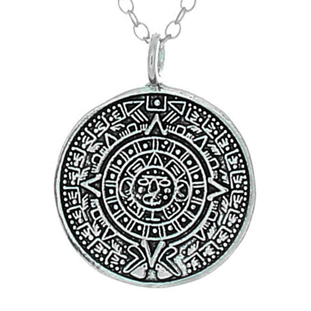 925 sterling silver aztec calendar pendant necklace belcho usa aloadofball Images