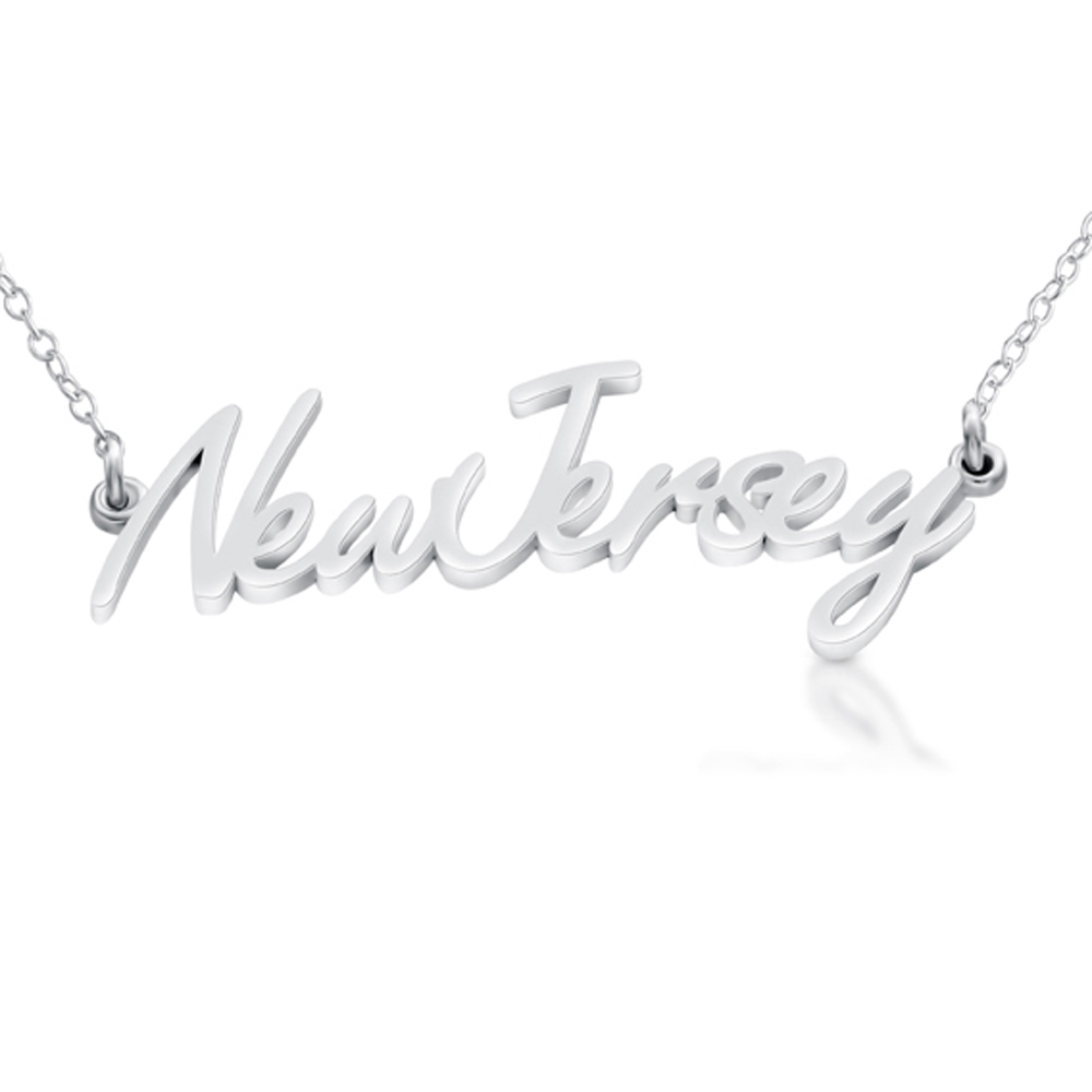 Sterling silver new jersey state handwritten script necklace usa nj sterling silver new jersey state handwritten script necklace usa nj belcho usa aloadofball Image collections